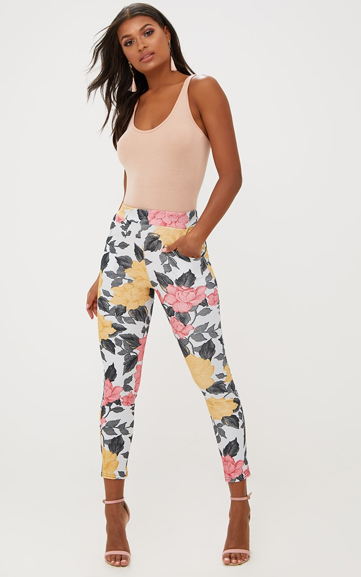 Grey Large Floral Skinny Trousers 1