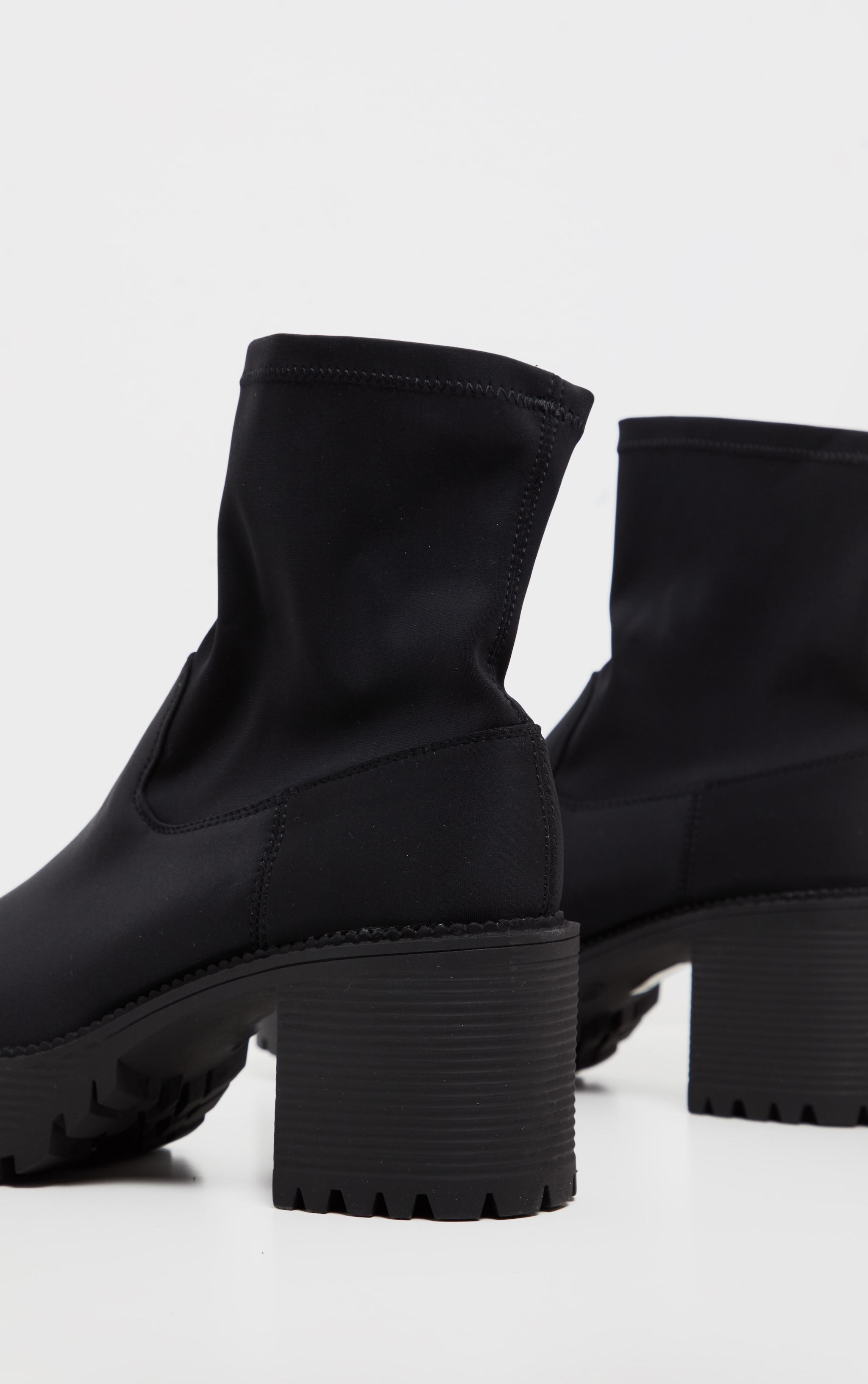 Black Lycra Chunky Sock Boot  4