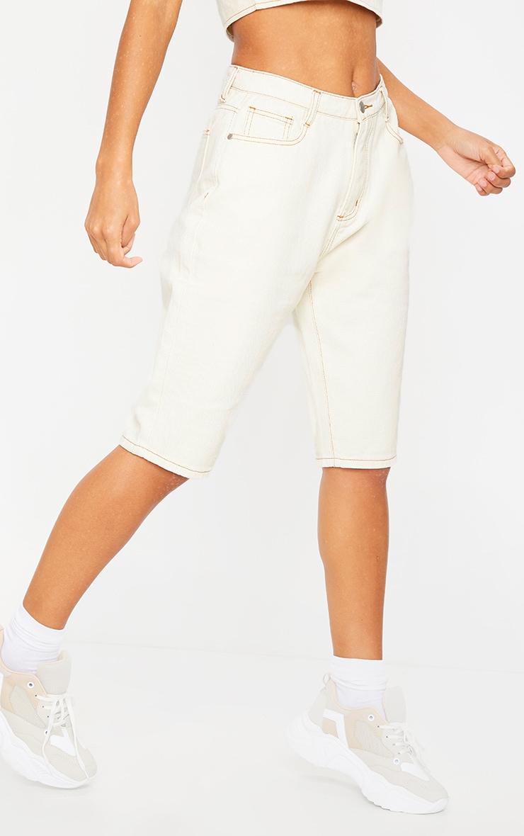Ecru Longline Denim Shorts 2