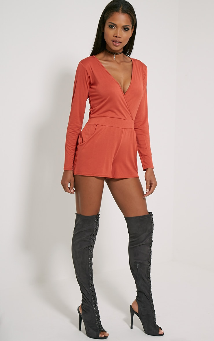 Jessey Rust Jersey Wrap Playsuit 3