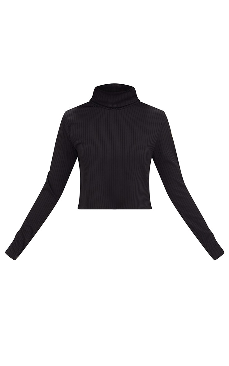 Black Ribbed Roll Neck Longsleeve Crop Top 3