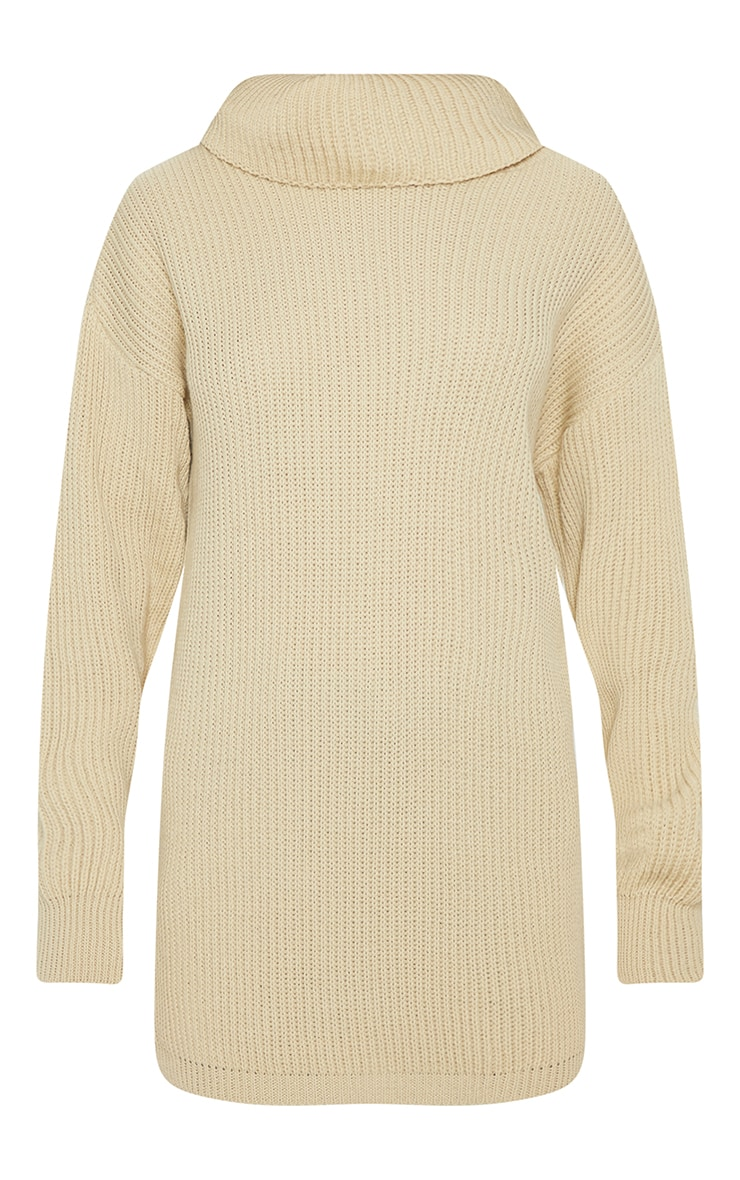 Chunky Knitted Roll Neck Stone Jumper 3