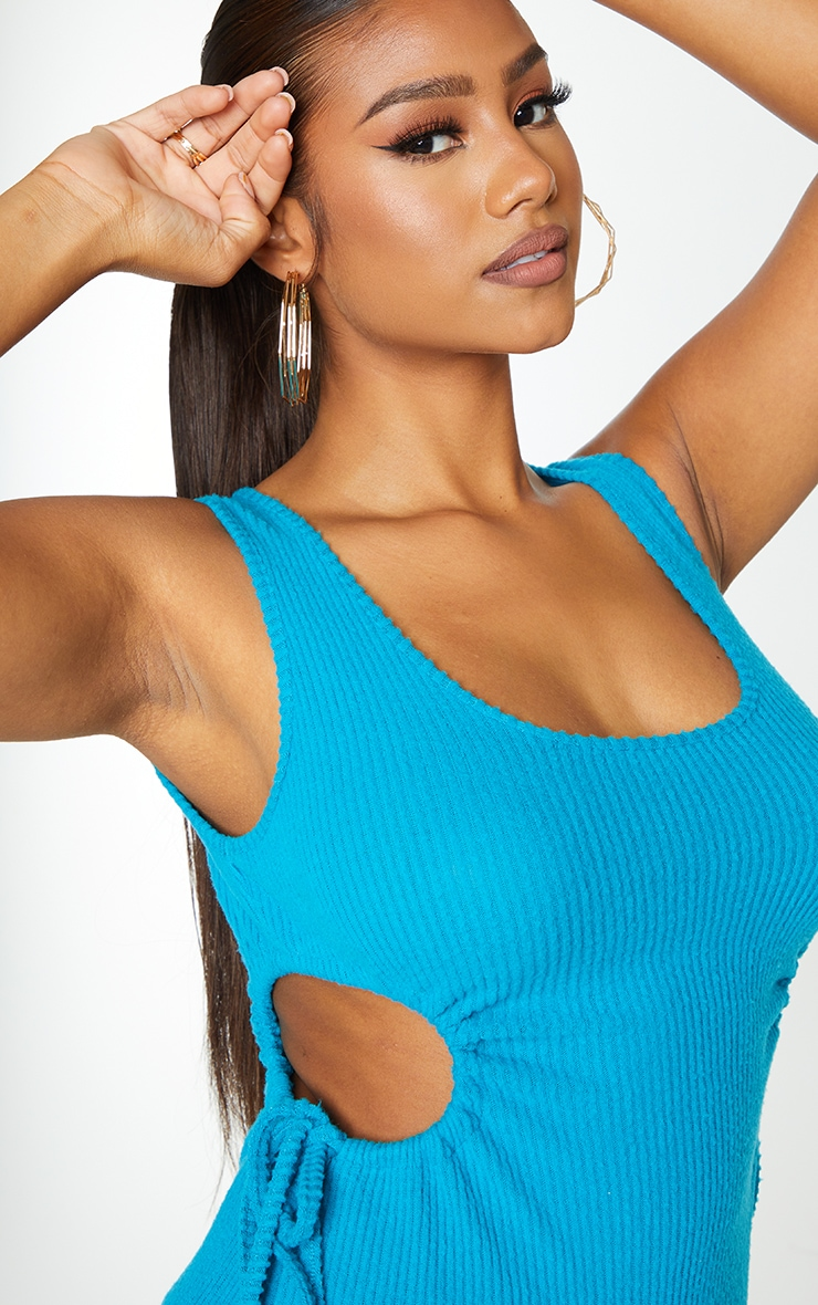 Petrol Blue Brushed Rib Cut Out Sleeveless Midaxi Dress 4
