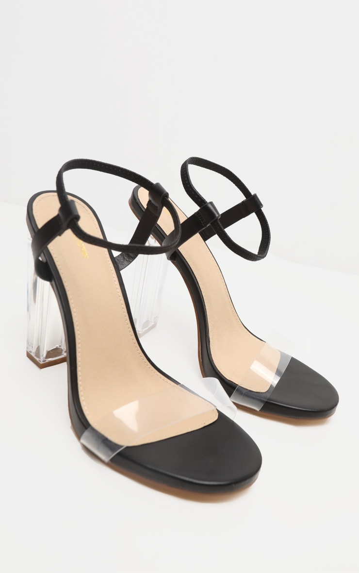 Black Wide Fit Clear Block Heel Strappy Sandal 4