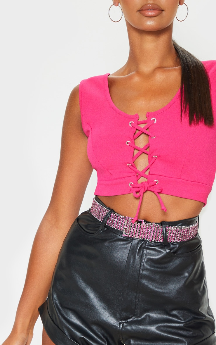 Pink Lace Up Crepe Crop Top 4
