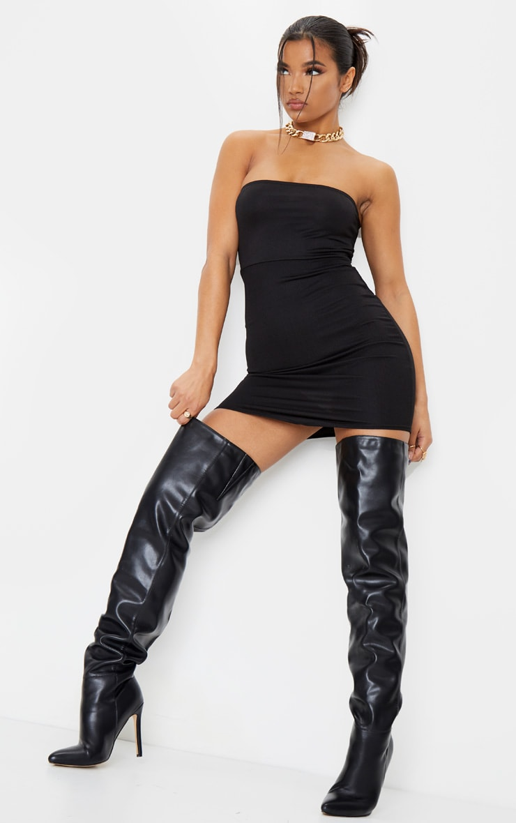 Black Bandeau Pointy Hem Bodycon Dress 3