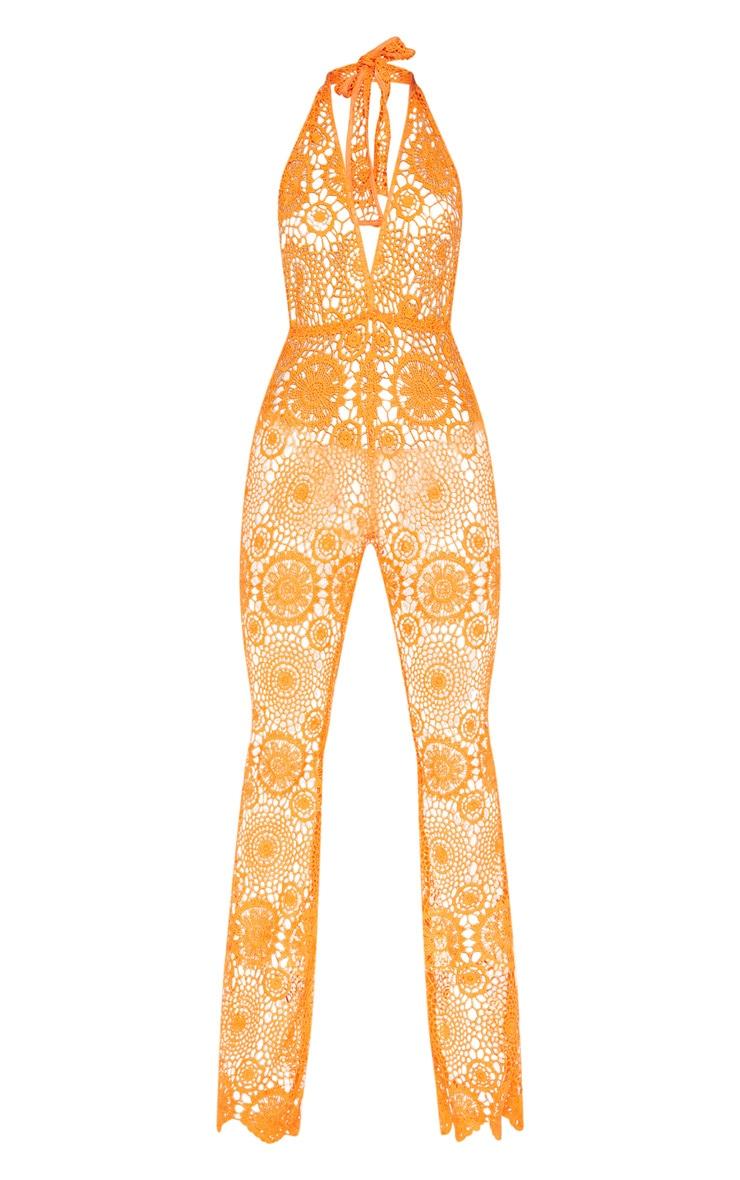 Orange Crochet Lace Halterneck Jumpsuit 3