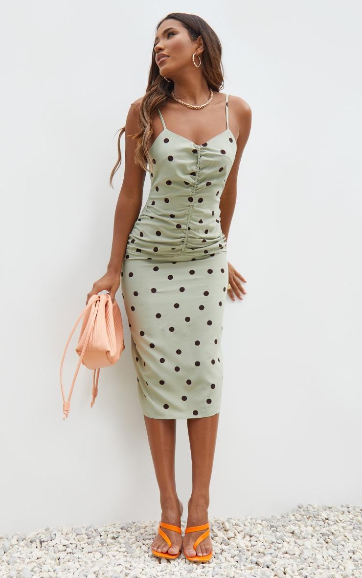 Sage Green Polka Dot Strappy Ruched Centre Midi Dress 1
