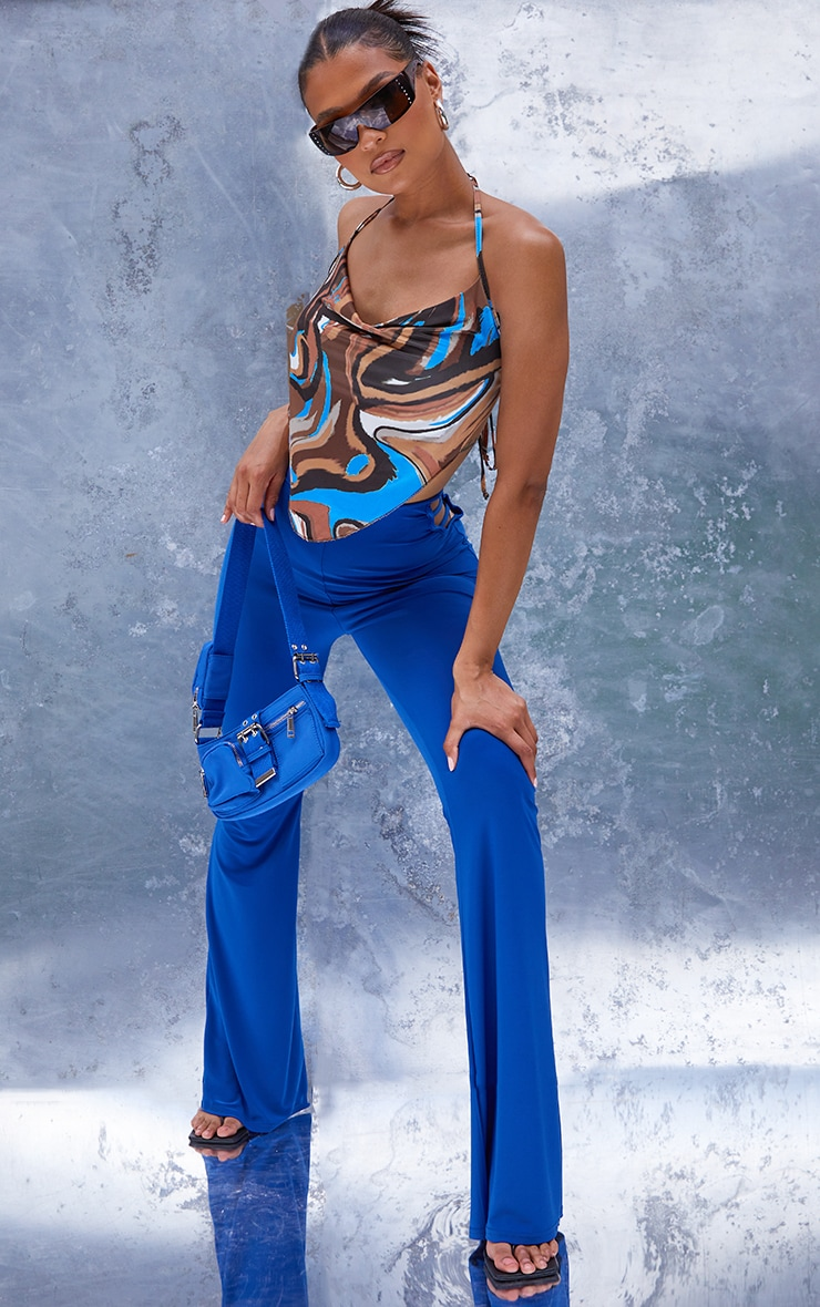 Blue Abstract Print Cowl Cami Top 1