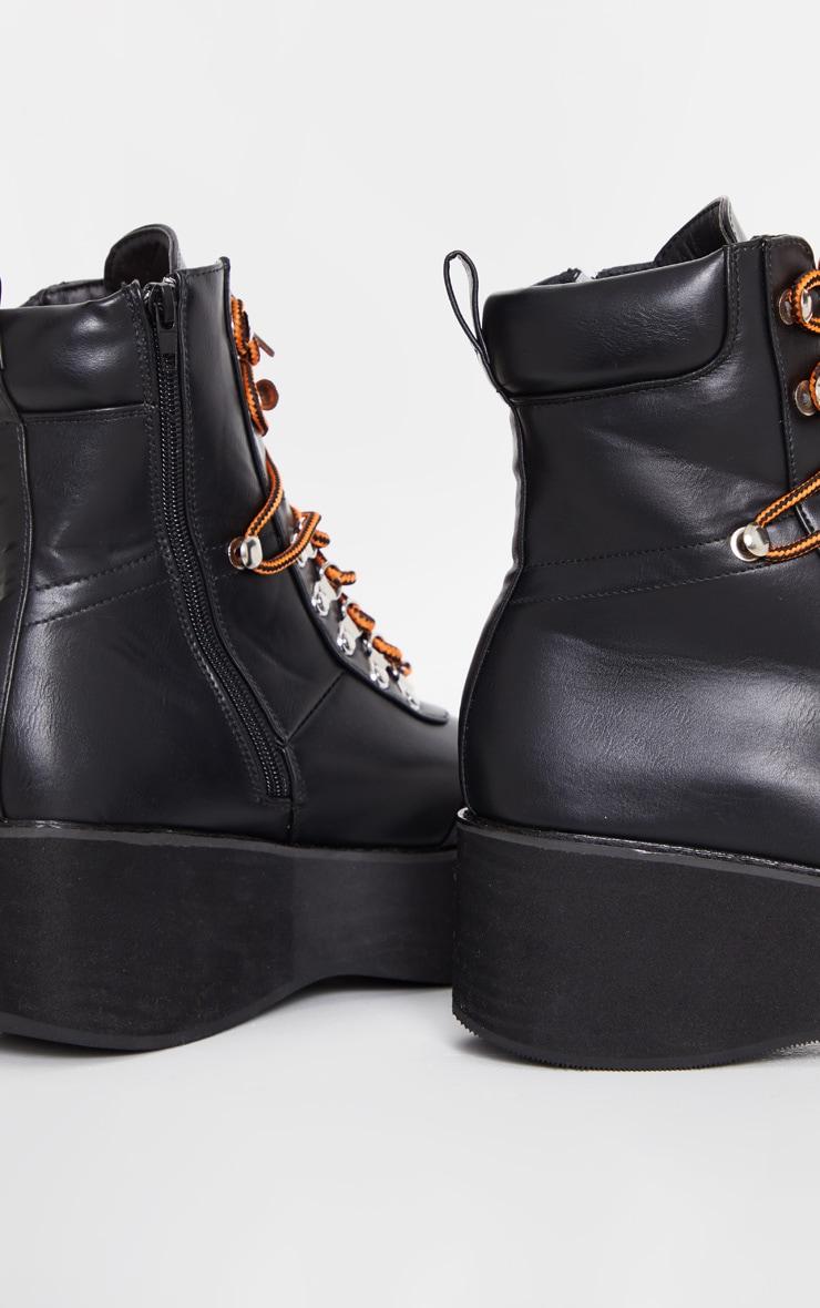 Black Hiker Flatform Lace Up Boot 4