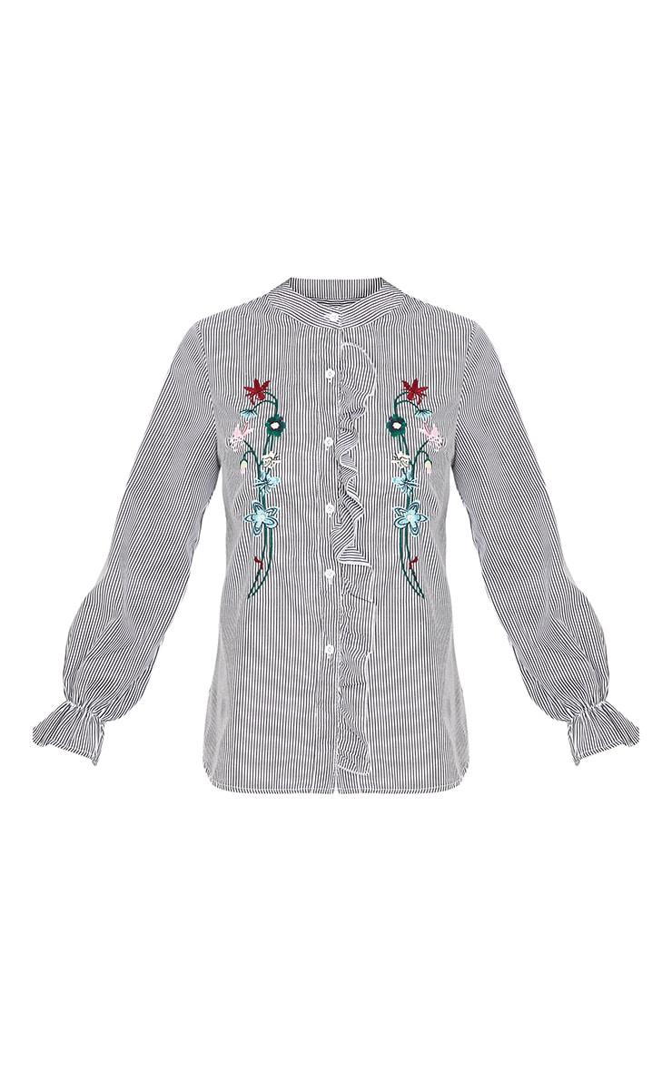 Linette Black Embroidered Stripe Shirt 3