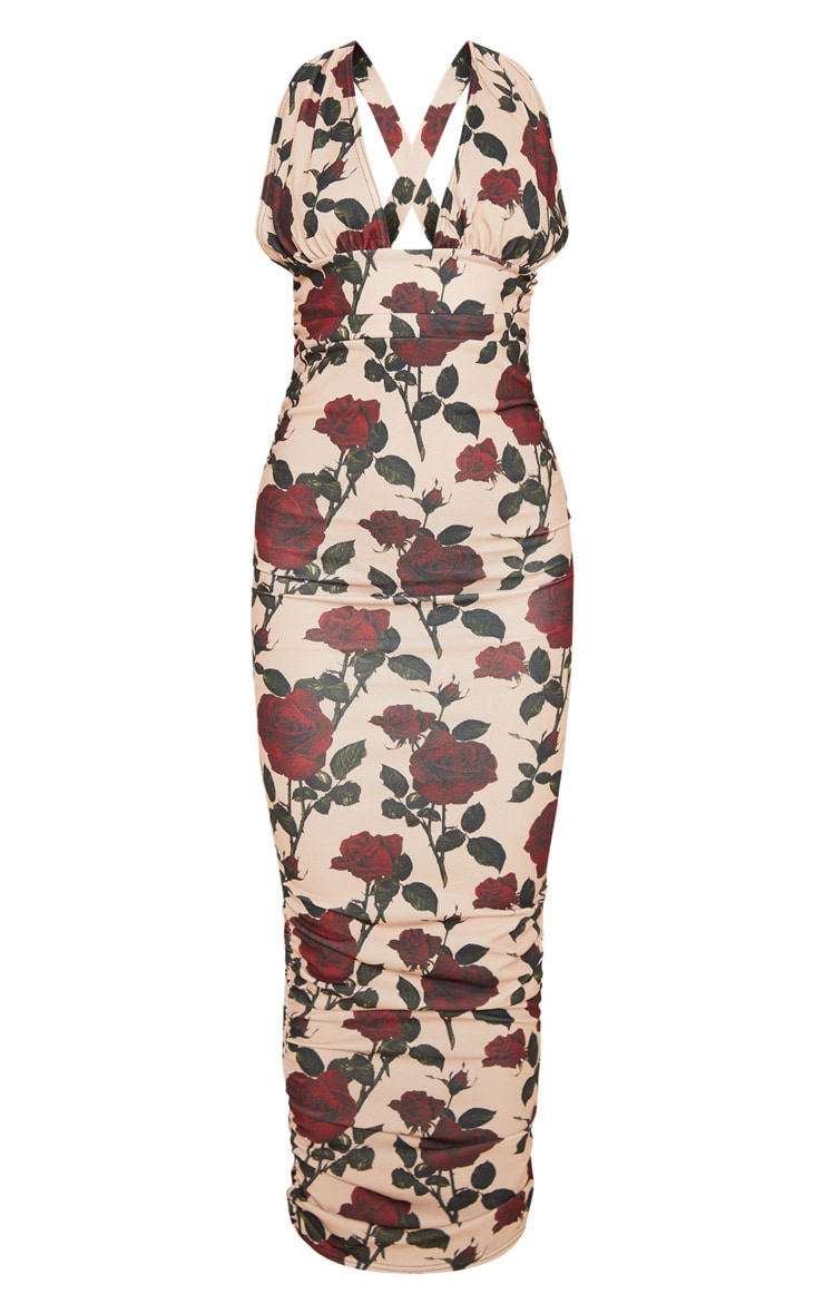 Cream Rose Print Deep Plunge Ruched Midaxi Dress 3