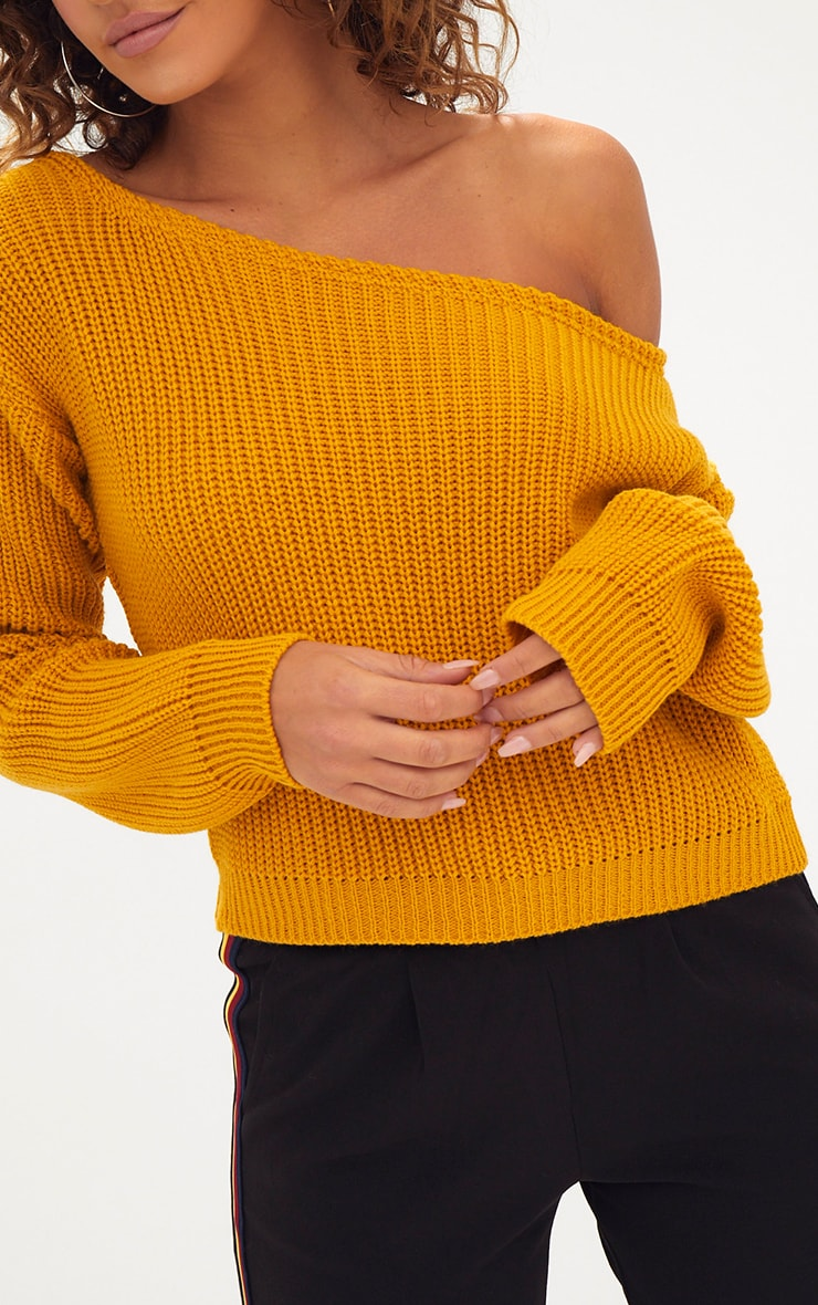 Mustard Off Shoulder Knitted Crop Sweater 5