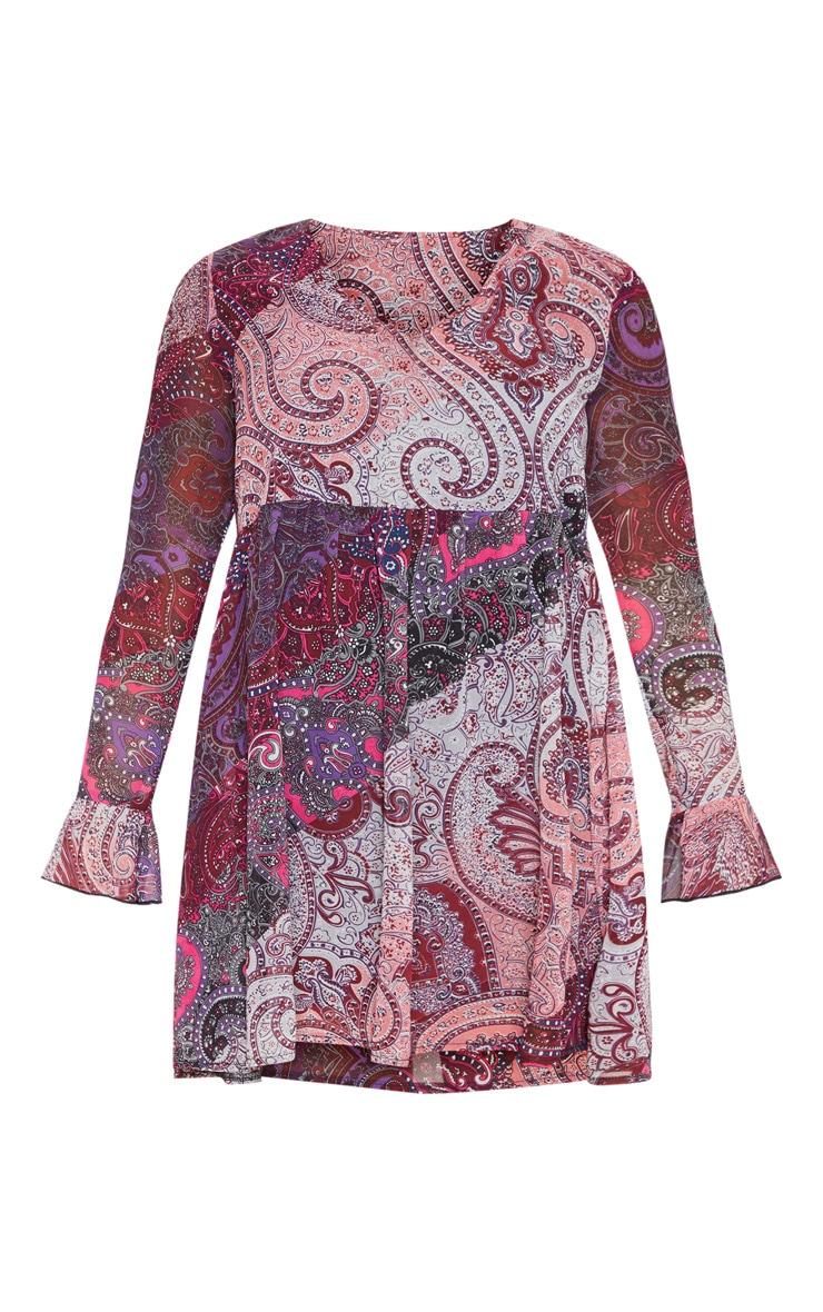 Petite Purple Paisley Smock Dress 3