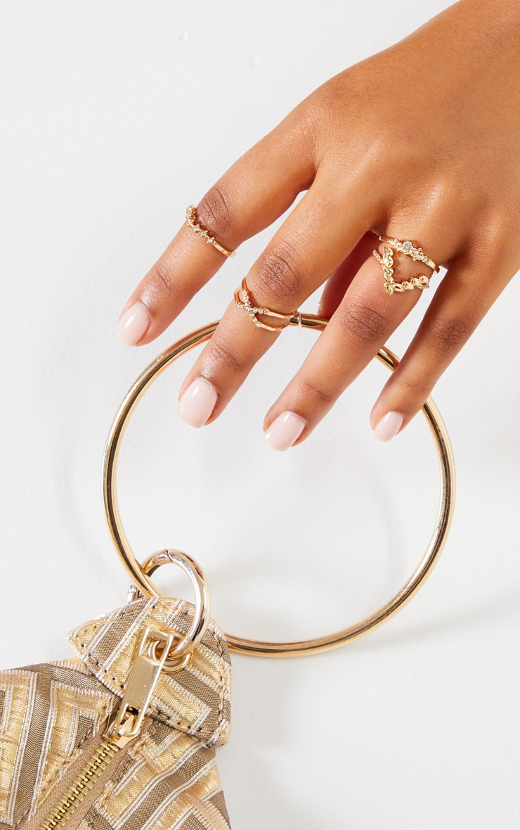 Gold Diamante Four Set Stacking Rings 2
