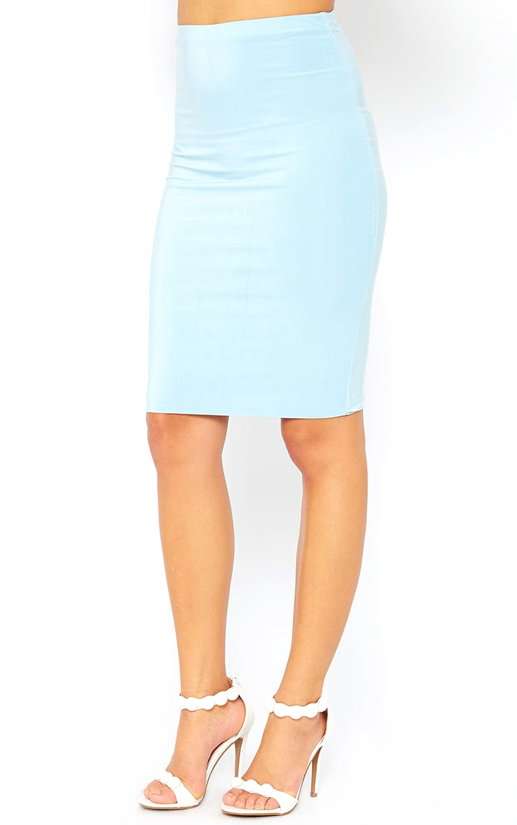 Arabella Powder Blue Slinky Midi Skirt 3