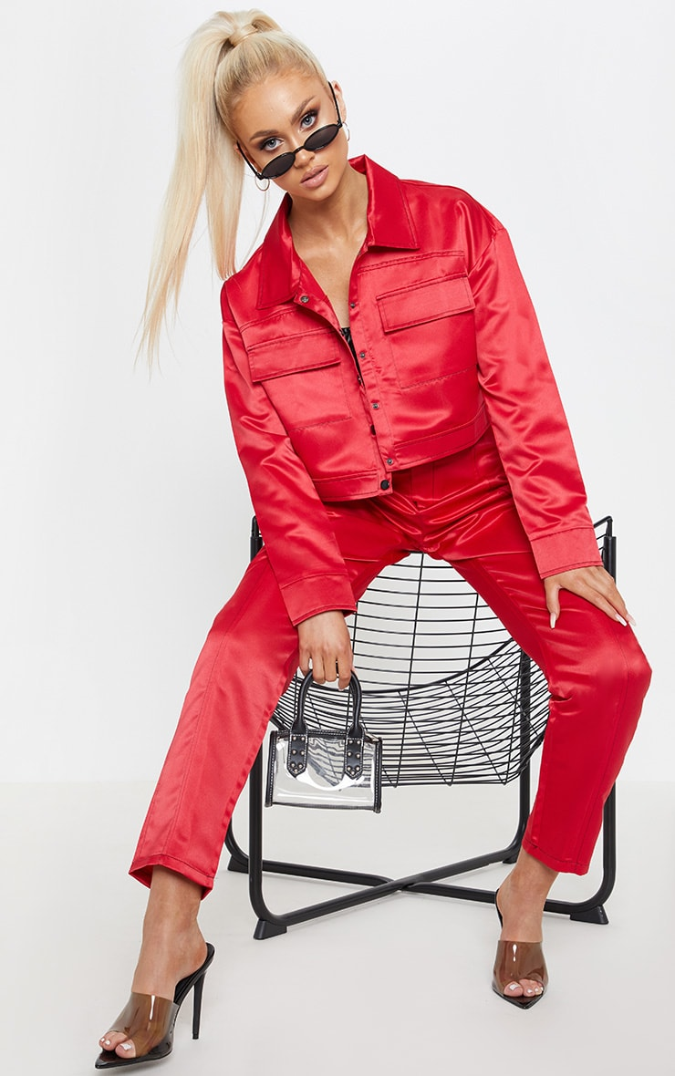 Red Contrast Stitch Military Crop Jacket 4