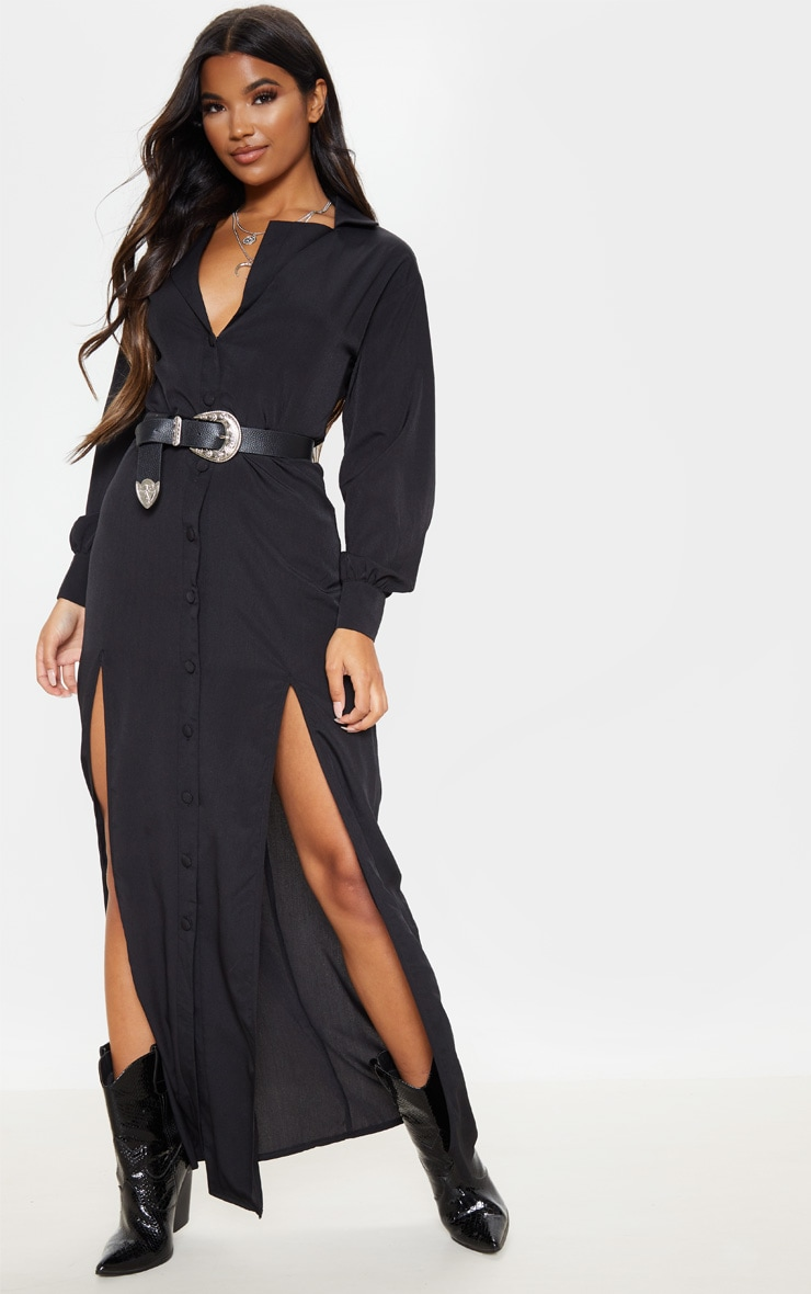 Black Split Front Maxi Shirt Dress 1