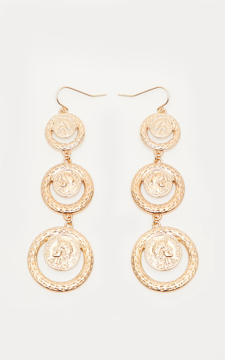 Gold Tiered Coin Drop Earrings 2