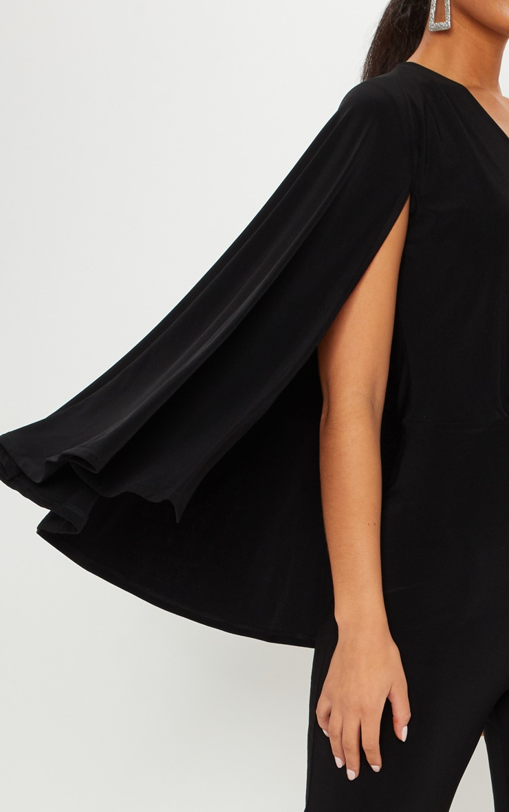 Black Plunge Cape Detail Wrap Jumpsuit 5