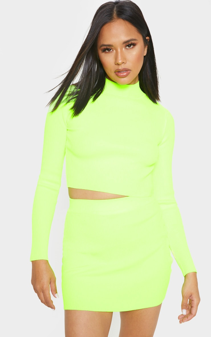 Neon Yellow Ribbed Knitted Mini Skirt  1