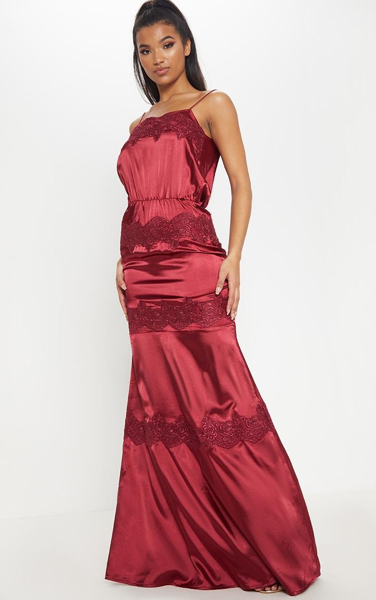 14f6c578107e Burgundy Lace Trim Satin Tiered Dress Prettylittlething Usa