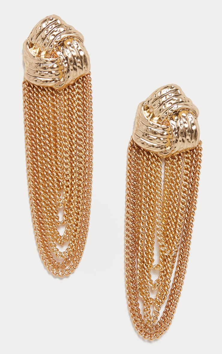 Gold Knotted Studs Chain Drop