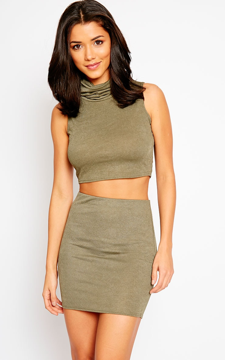 Joni Khaki Sleeveless Roll Neck Top 1