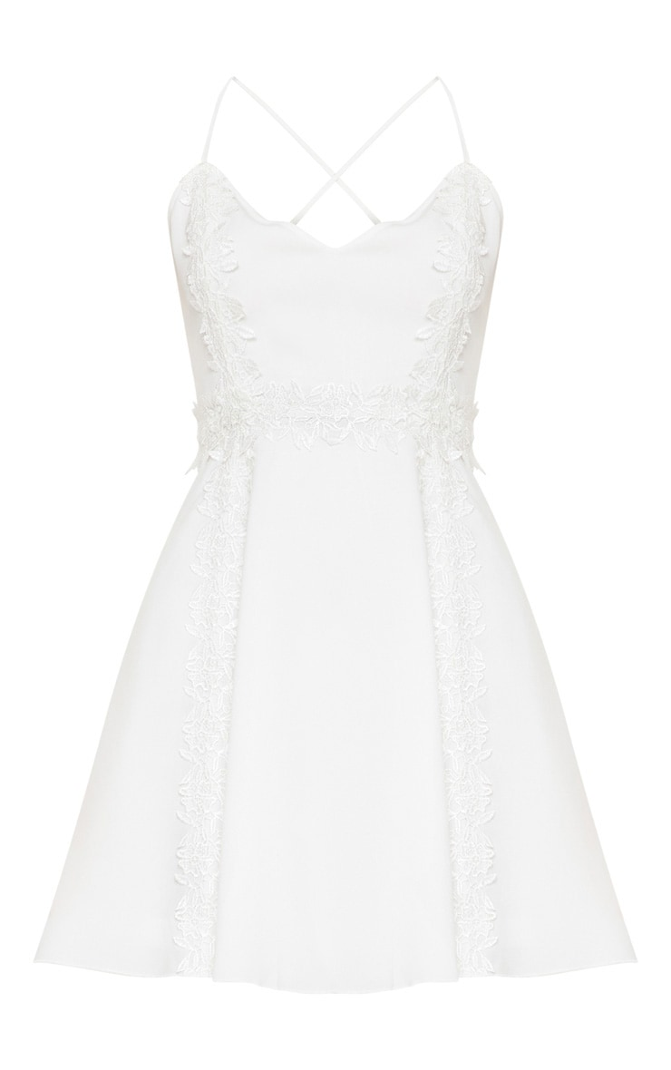 White Lace Trim Plunge Skater Dress 3