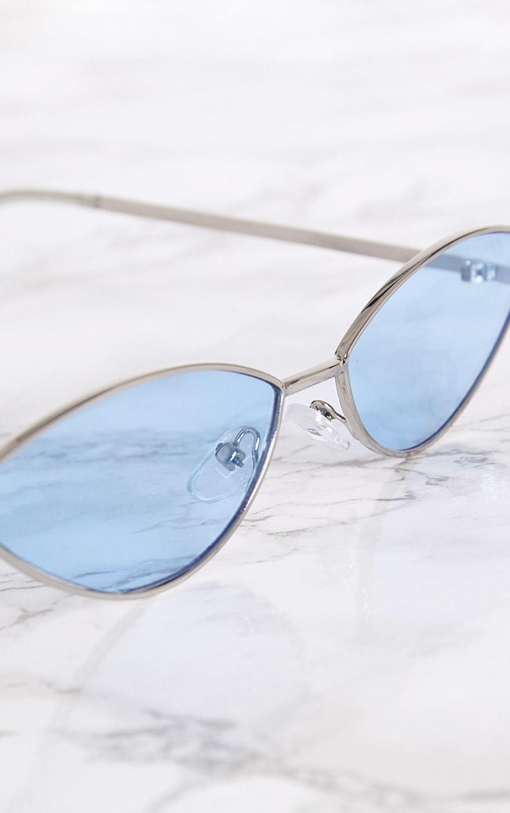 Blue Metal Oval Cat Eye Sunglasses 3
