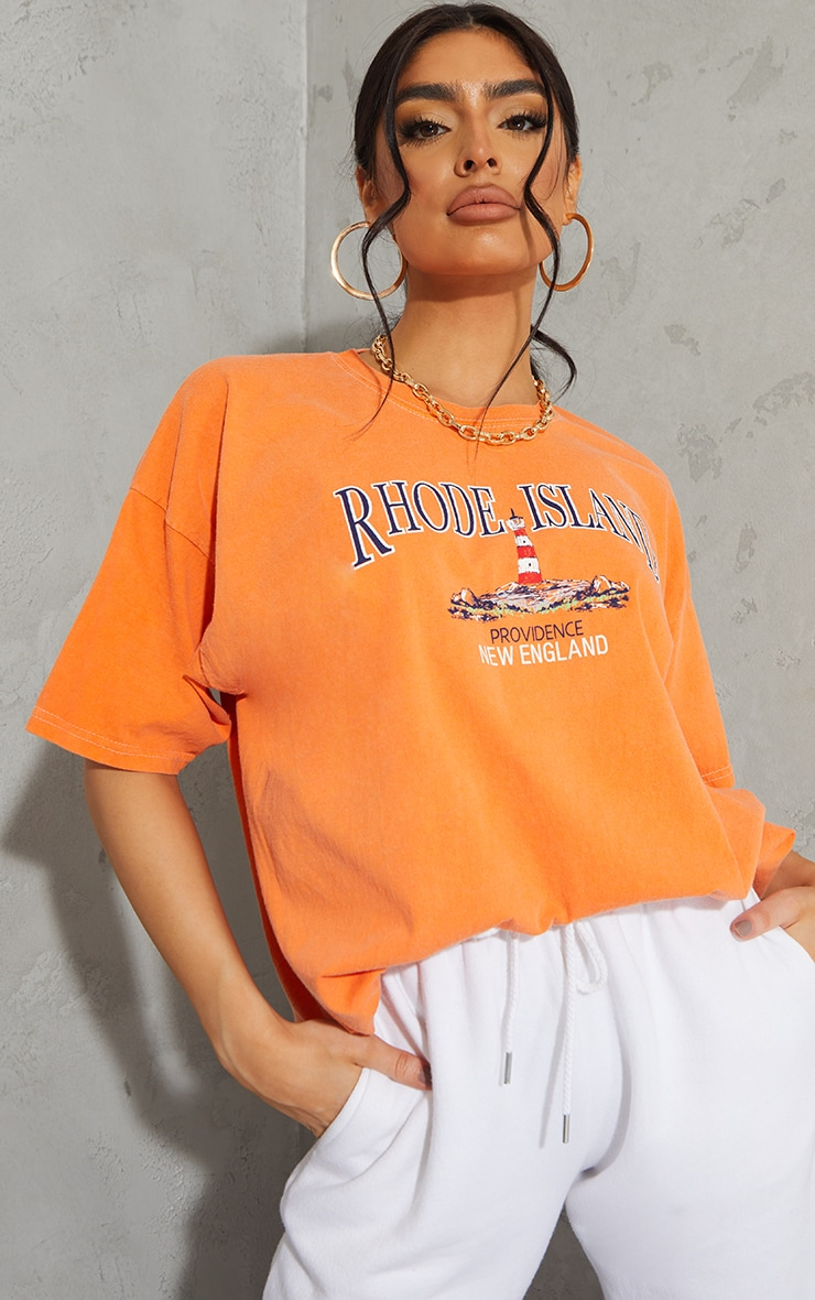 Orange Rhode Island Washed Printed T Shirt