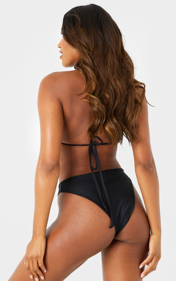 Black Mix & Match Super High Leg Cheeky Bikini Bottoms 2