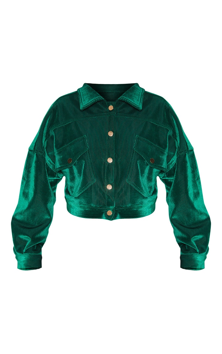 Emerald Green Cropped Cord Oversized Trucker Jacket  3