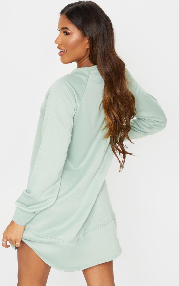 Sage Green Oversized Sweat Jumper Dress 2
