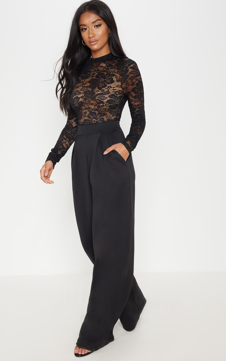 Petite Black Lace High Neck Long Sleeve Jumpsuit 4