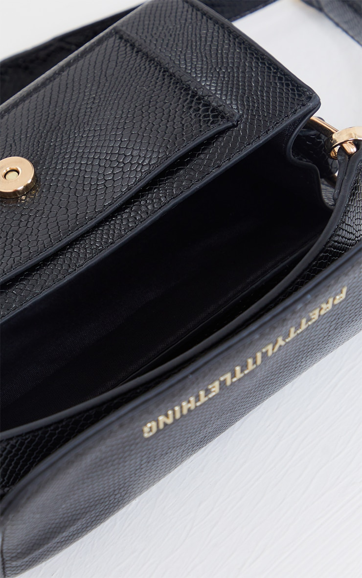 PRETTYLITTLETHING Black Croc Grab Bag 4