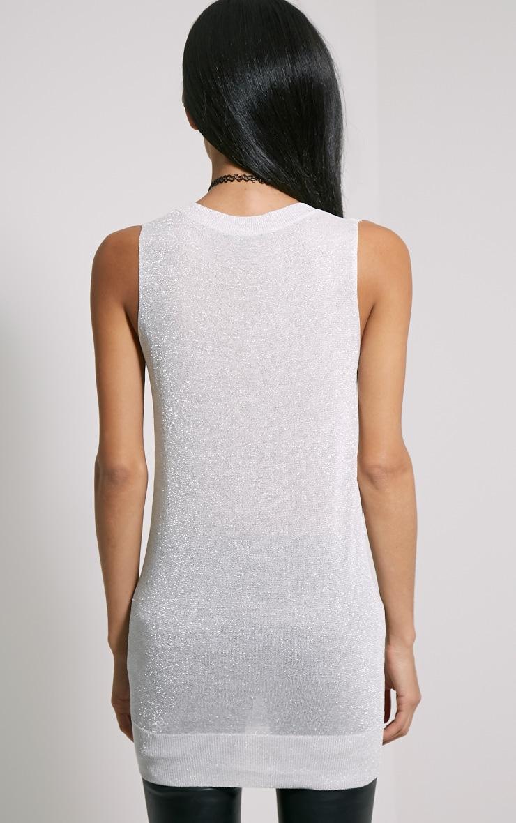 Ceara Grey Sleeveless Metalic Knitted Vest 2