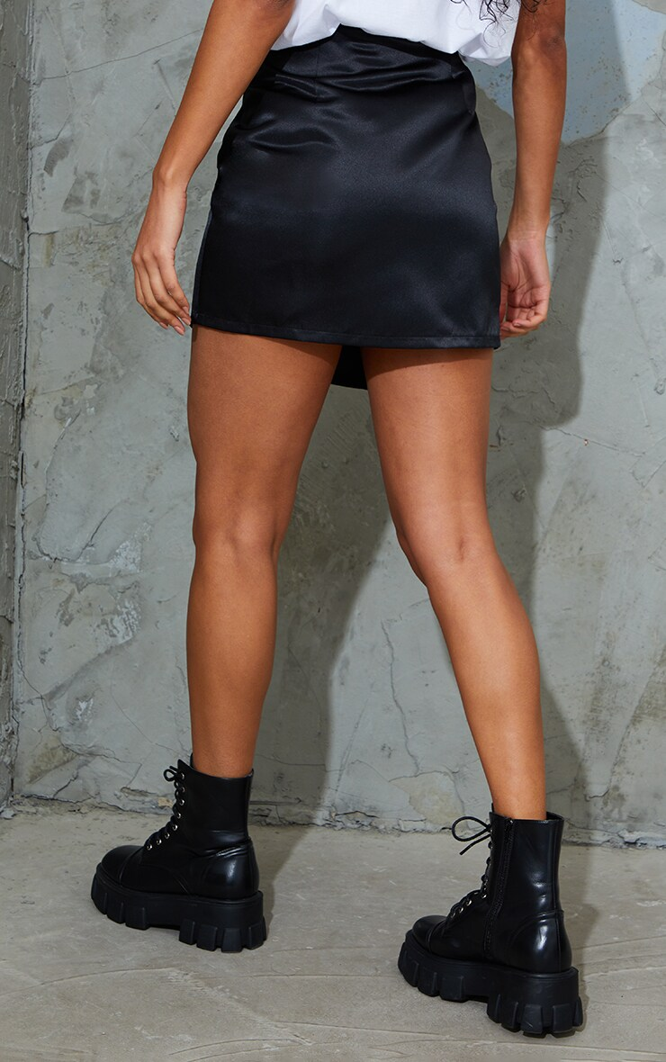 Black Tailored Satin Split Front Mini Skirt 3