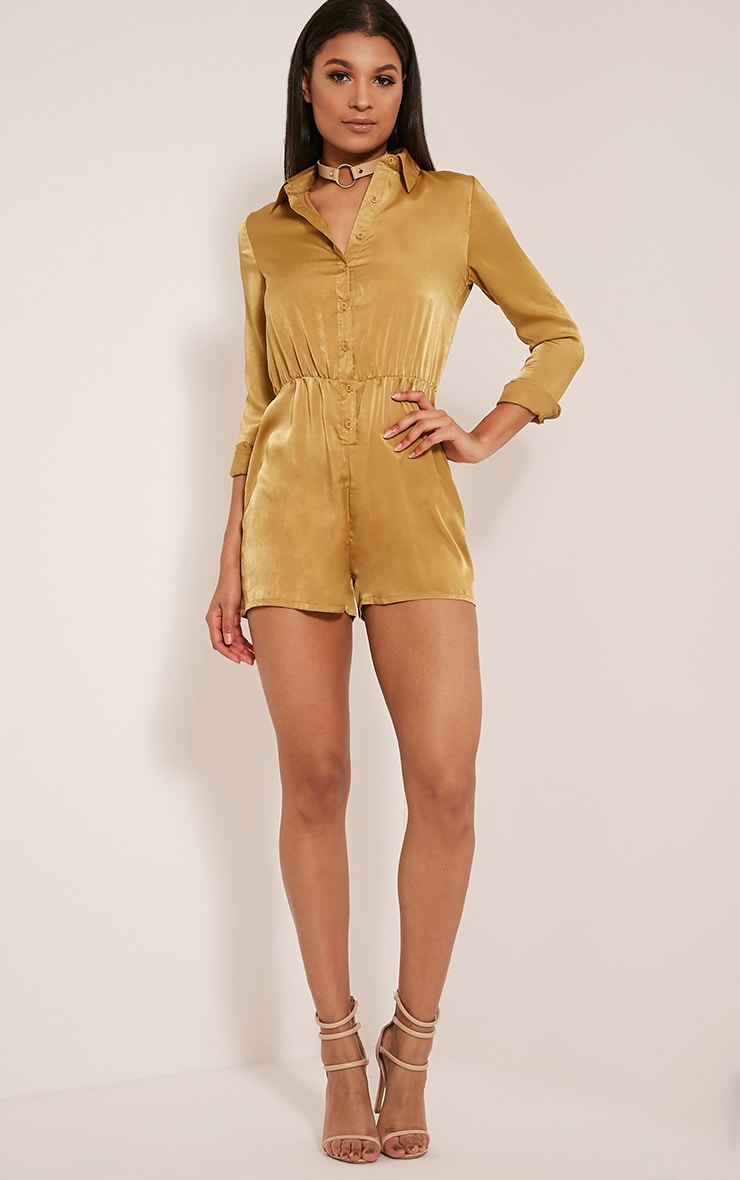 Pina Olive Silk Feel Shirt Playsuit 5