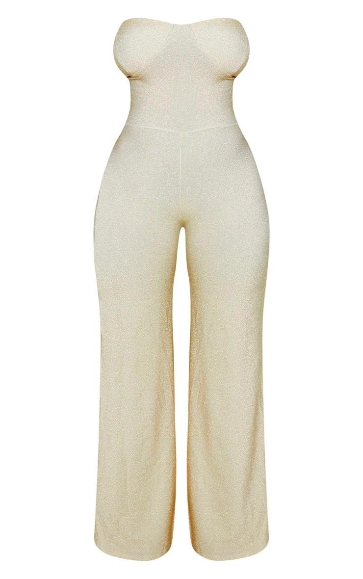 Shape Gold Glitter Wide Leg Cup Detail Jumpsuit 4