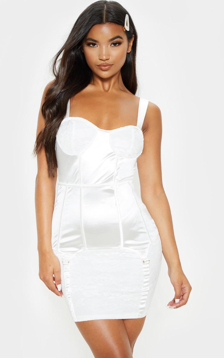 White Satin Lace Insert Suspender Detail Bodycon Dress 3