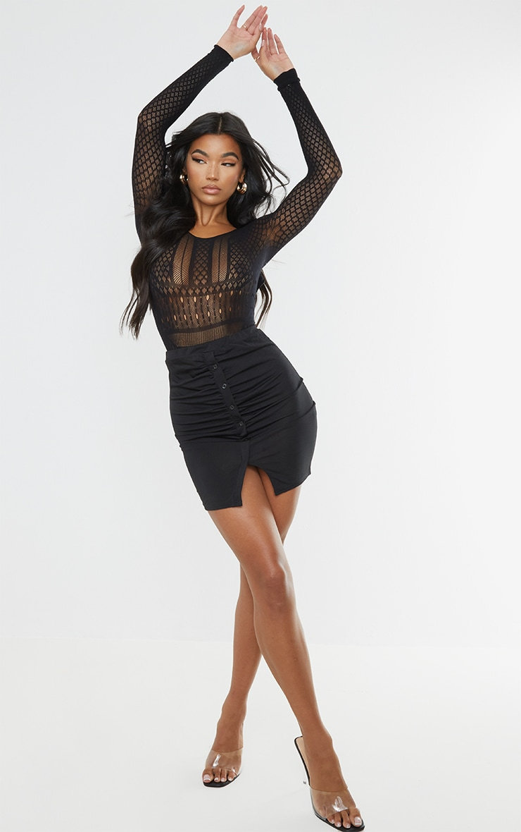 Black Slinky Button Front Ruched Side Mini Skirt