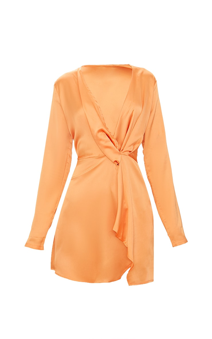 Tangerine Satin Long Sleeve Wrap Dress 3
