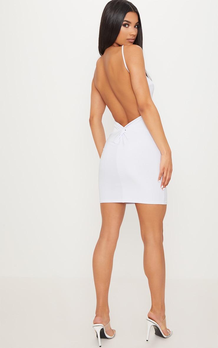 White Double Layer Slinky Halterneck Twist Low Back Detail Bodycon Dress 4
