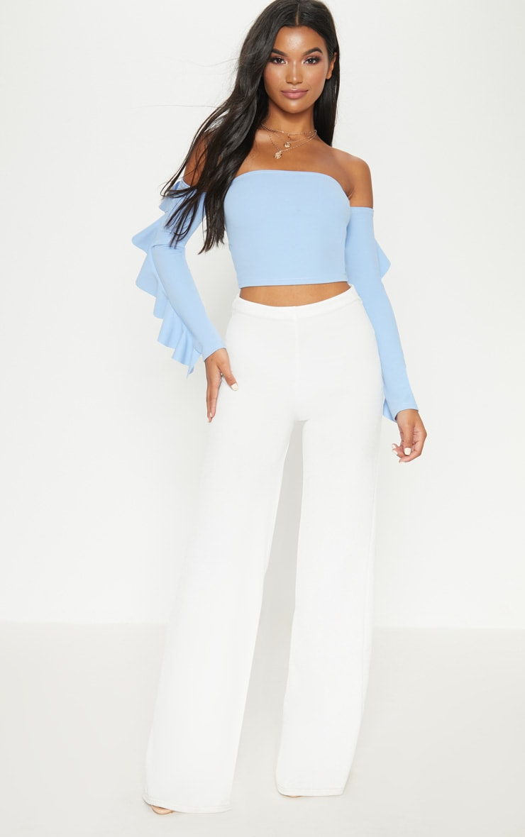 Dusky Blue Crepe Bardot Frill Sleeve Crop Top 4