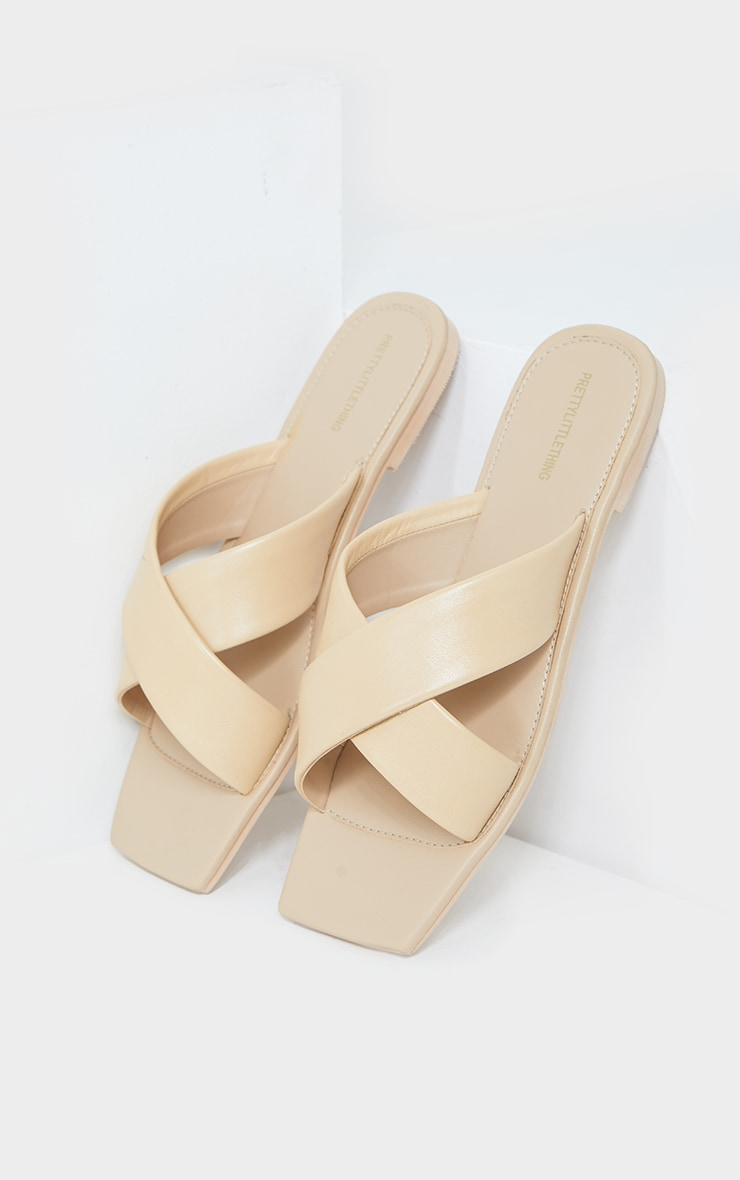 Sand Leather Square Toe Cross Strap Mule Flat Sandals 3