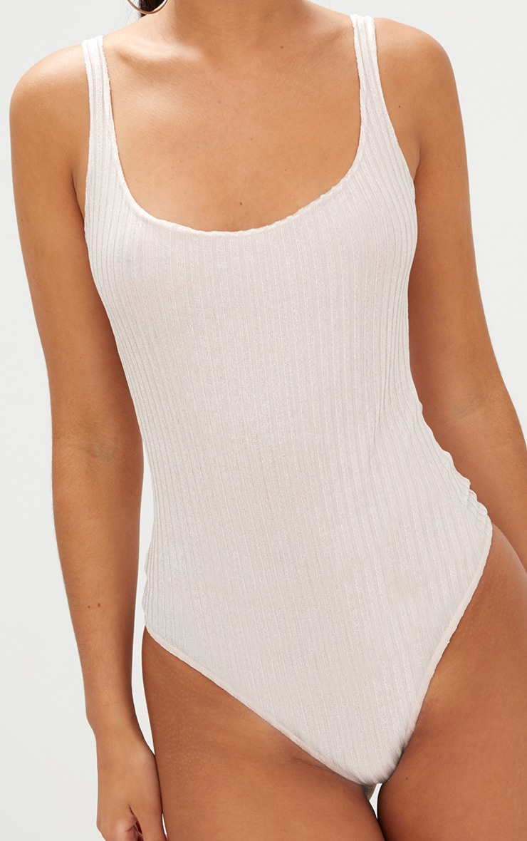Nude Shimmer Ribbed Square Neck Thong Bodysuit 6