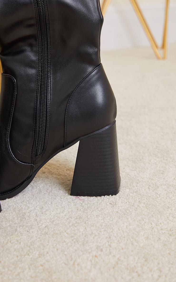 Black Square Toe Flare Block Heel Knee High Boots 4