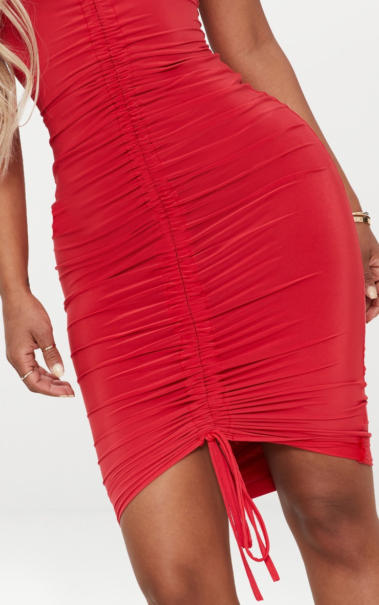 Shape Red Slinky Ruched Strappy Midi Dress 5