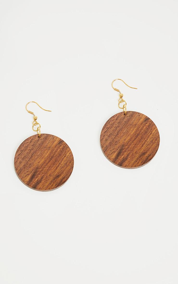 Brown Wooden Circle Disc Drop Earrings 2